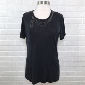 The Kooples Chain Necklace Scoop Tee Short Sleeve